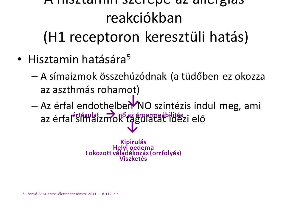 A hisztamin szerepe az allergiás reakciókban (H1 receptoron keresztüli hatás) Hisztamin hatására 5 – A símaizmok összehúzódnak (a tüdőben ez okozza az