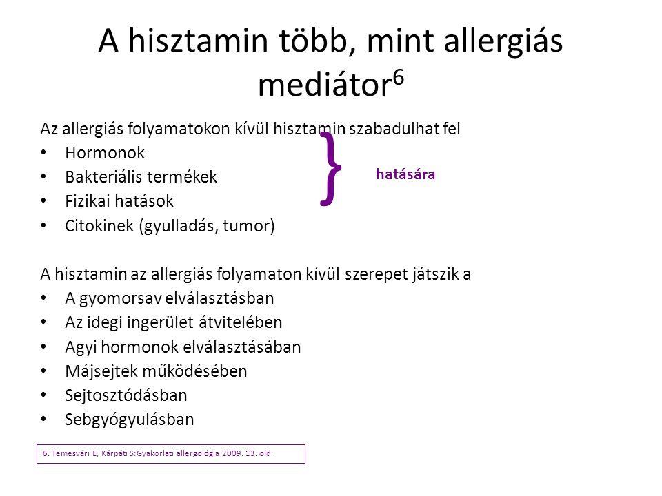 A hisztamin több, mint allergiás mediátor 6 Az allergiás folyamatokon kívül hisztamin szabadulhat fel Hormonok Bakteriális termékek Fizikai hatások Ci