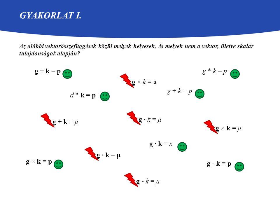GYAKORLAT I. Az alábbi vektorösszefüggések közül melyek helyesek, és melyek nem a vektor, illetve skalár tulajdonságok alapján? g + k = p g + k = μ g