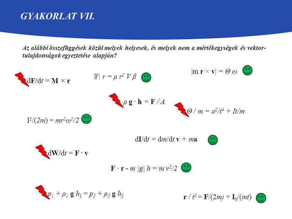 GYAKORLAT VII. Az alábbi összefüggések közül melyek helyesek, és melyek nem a mértékegységek és vektor- tulajdonságok egyeztetése alapján? F · r - m |
