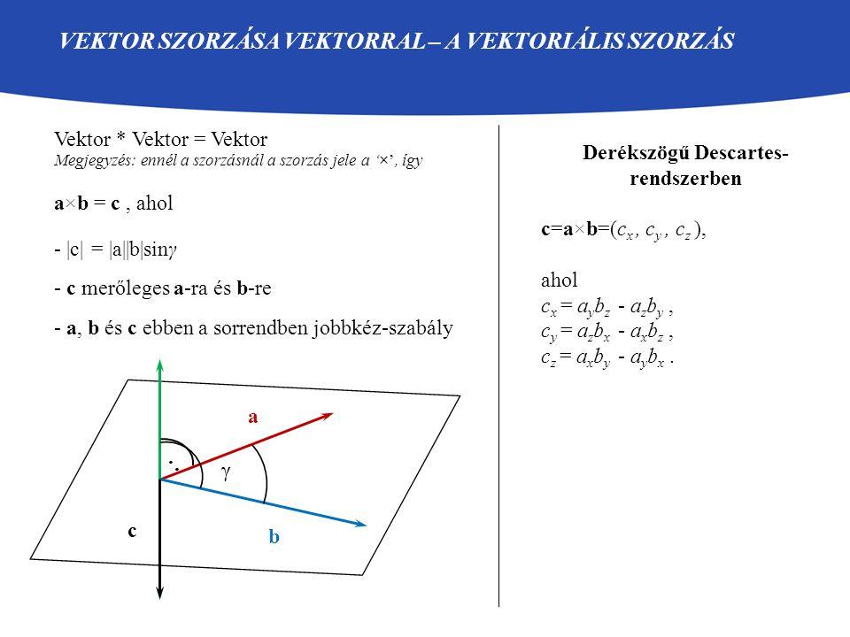 VEKTOR SZORZÁSA VEKTORRAL – A VEKTORIÁLIS SZORZÁS Vektor * Vektor = Vektor Megjegyzés: ennél a szorzásnál a szorzás jele a '×', így a×b = c, ahol - |c