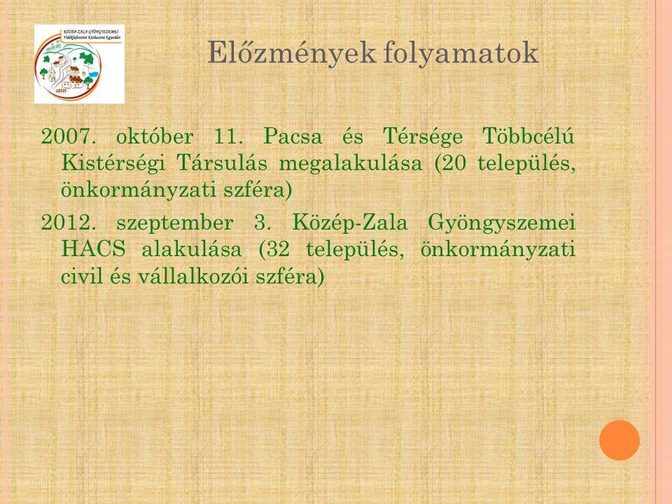 2007. október 11. Pacsa és Térsége Többcélú Kistérségi Társulás megalakulása (20 település, önkormányzati szféra) 2012. szeptember 3. Közép-Zala Gyöng