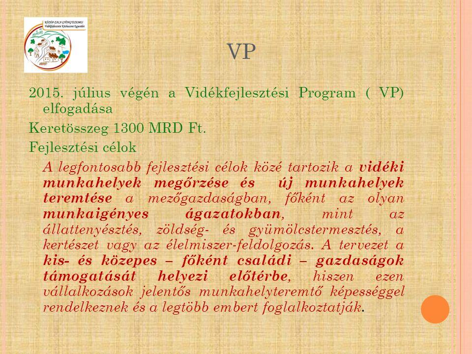 2015. július végén a Vidékfejlesztési Program ( VP) elfogadása Keretösszeg 1300 MRD Ft. Fejlesztési célok A legfontosabb fejlesztési célok közé tartoz