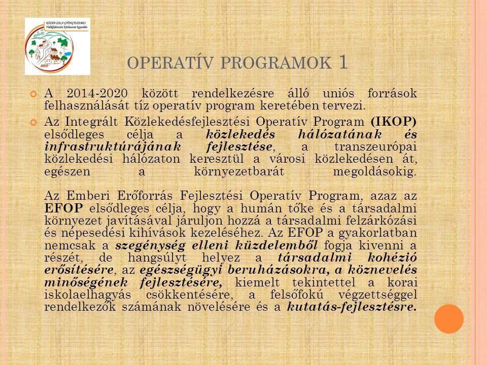 OPERATÍV PROGRAMOK 1 A 2014-2020 között rendelkezésre álló uniós források felhasználását tíz operatív program keretében tervezi. Az Integrált Közleked