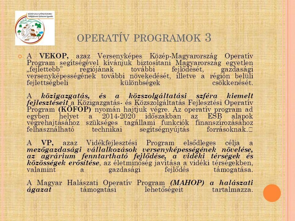 """OPERATÍV PROGRAMOK 3 A VEKOP, azaz Versenyképes Közép-Magyarország Operatív Program segítségével kívánjuk biztosítani Magyarország egyetlen """"fejlettebb régiójának további fejlődését, gazdasági versenyképességének további növekedését, illetve a régión belüli fejlettségbeli különbségek csökkenését."""