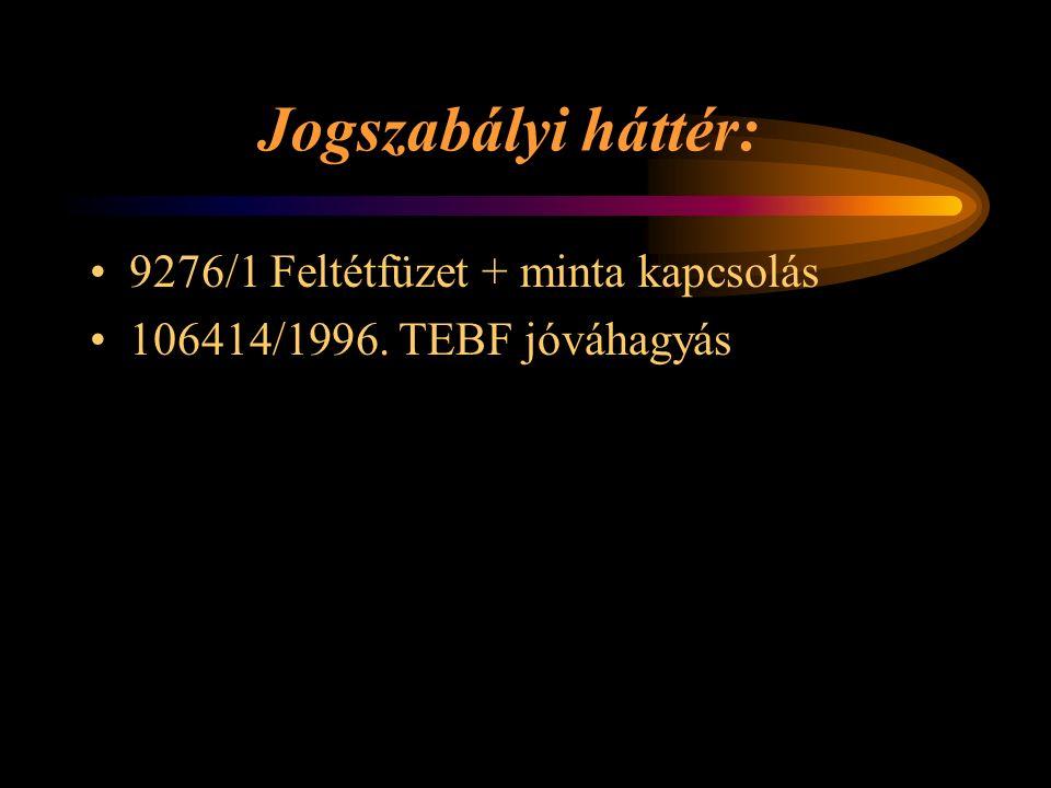 Jogszabályi háttér: 9276/1 Feltétfüzet + minta kapcsolás 106414/1996. TEBF jóváhagyás Rétlaki Győző: Kényszer menetirány váltás