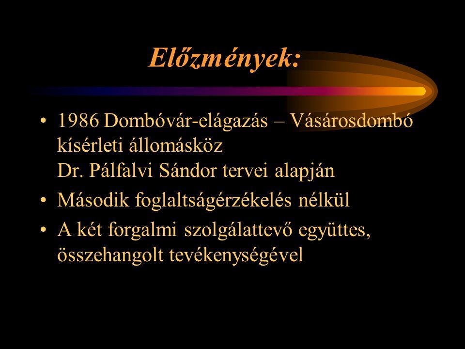 Előzmények: 1986 Dombóvár-elágazás – Vásárosdombó kísérleti állomásköz Dr. Pálfalvi Sándor tervei alapján Második foglaltságérzékelés nélkül A két for