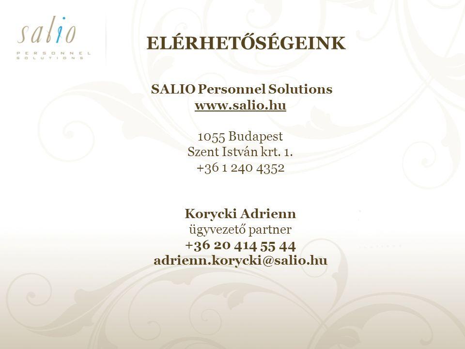 ELÉRHETŐSÉGEINK SALIO Personnel Solutions www.salio.hu 1055 Budapest Szent István krt.