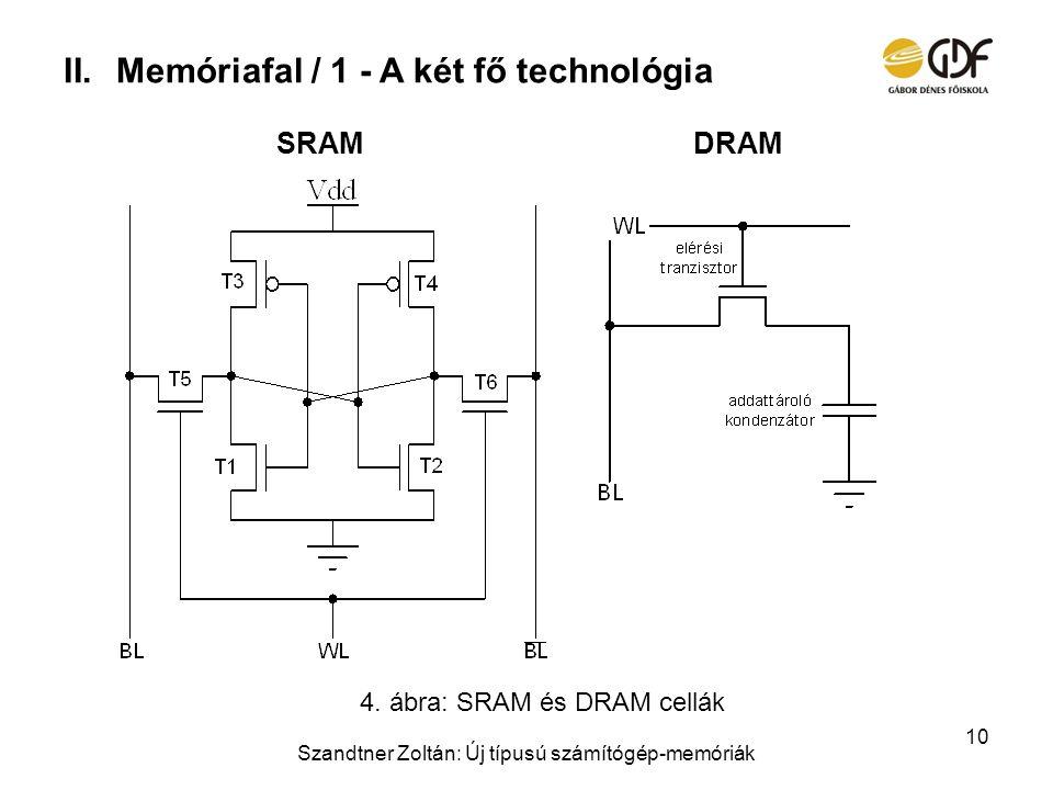 II.Memóriafal / 1 - A két fő technológia Szandtner Zoltán: Új típusú számítógép-memóriák 10 DRAMSRAM 4. ábra: SRAM és DRAM cellák