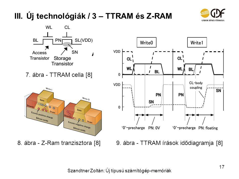 III.Új technológiák / 3 – TTRAM és Z-RAM Szandtner Zoltán: Új típusú számítógép-memóriák 17 7. ábra - TTRAM cella [8] 9. ábra - TTRAM írások idődiagra