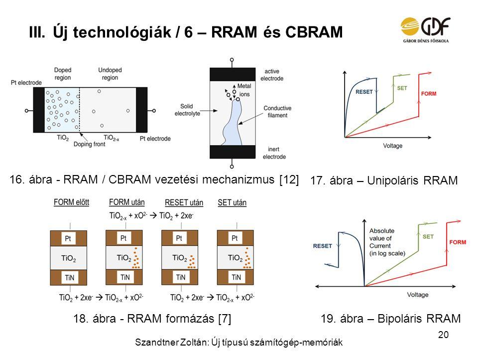 III.Új technológiák / 6 – RRAM és CBRAM Szandtner Zoltán: Új típusú számítógép-memóriák 20 16. ábra - RRAM / CBRAM vezetési mechanizmus [12] 18. ábra