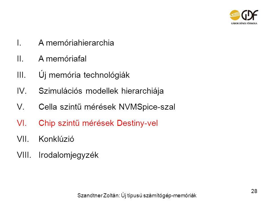 I.A memóriahierarchia II.A memóriafal III.Új memória technológiák IV.Szimulációs modellek hierarchiája V.Cella szintű mérések NVMSpice-szal VI.Chip sz