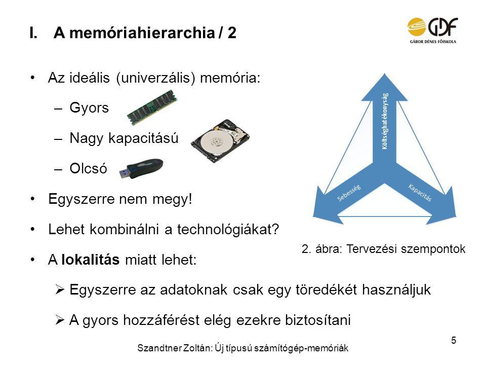 I.A memóriahierarchia / 2 Az ideális (univerzális) memória: –Gyors –Nagy kapacitású –Olcsó Egyszerre nem megy! Lehet kombinálni a technológiákat? A lo