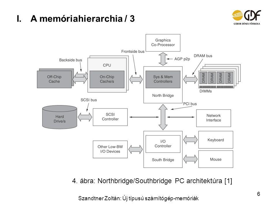 I.A memóriahierarchia / 3 Szandtner Zoltán: Új típusú számítógép-memóriák 6 4. ábra: Northbridge/Southbridge PC architektúra [1]