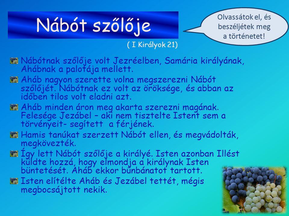 Nábót szőlője Nábótnak szőlője volt Jezréelben, Samária királyának, Ahábnak a palotája mellett. Aháb nagyon szerette volna megszerezni Nábót szőlőjét.
