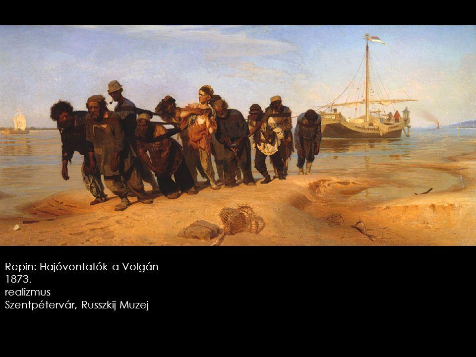 Repin: Hajóvontatók a Volgán 1873. realizmus Szentpétervár, Russzkij Muzej