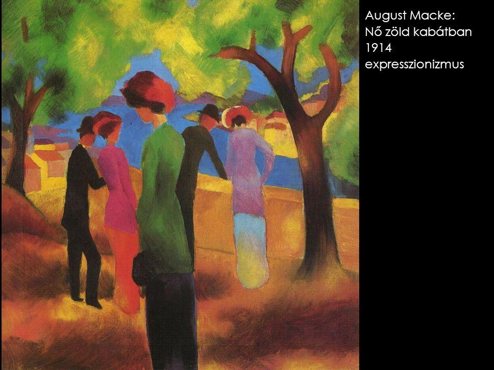 August Macke: Nő zöld kabátban 1914 expresszionizmus