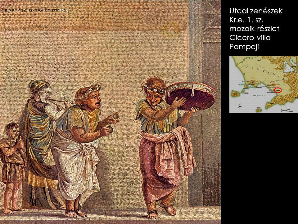 Utcai zenészek Kr.e. 1. sz. mozaik-részlet Cicero-villa Pompeji