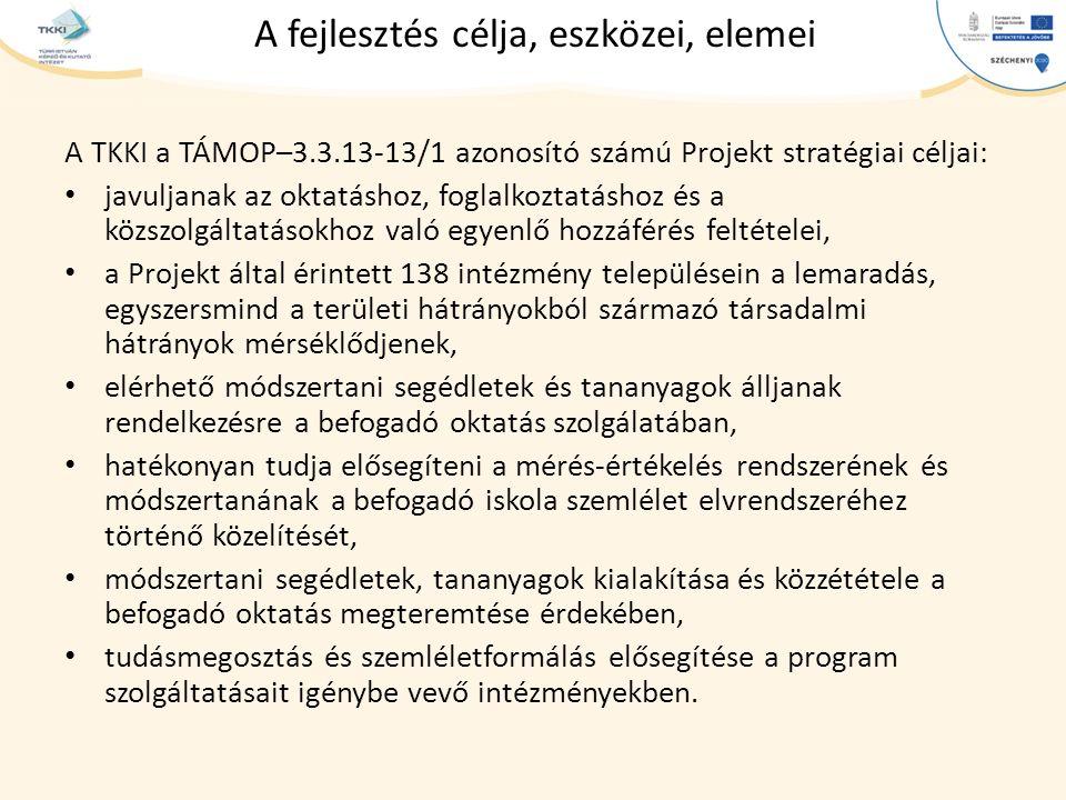 cím szöveg – Second level Third level – Fourth level » Fifth level A fejlesztés célja, eszközei, elemei A TKKI a TÁMOP–3.3.13-13/1 azonosító számú Projekt stratégiai céljai: javuljanak az oktatáshoz, foglalkoztatáshoz és a közszolgáltatásokhoz való egyenlő hozzáférés feltételei, a Projekt által érintett 138 intézmény településein a lemaradás, egyszersmind a területi hátrányokból származó társadalmi hátrányok mérséklődjenek, elérhető módszertani segédletek és tananyagok álljanak rendelkezésre a befogadó oktatás szolgálatában, hatékonyan tudja elősegíteni a mérés-értékelés rendszerének és módszertanának a befogadó iskola szemlélet elvrendszeréhez történő közelítését, módszertani segédletek, tananyagok kialakítása és közzététele a befogadó oktatás megteremtése érdekében, tudásmegosztás és szemléletformálás elősegítése a program szolgáltatásait igénybe vevő intézményekben.