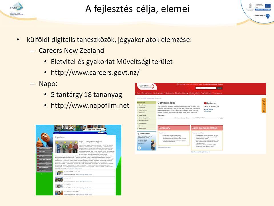 cím szöveg – Second level Third level – Fourth level » Fifth level A fejlesztés célja, elemei külföldi digitális taneszközök, jógyakorlatok elemzése: – Careers New Zealand Életvitel és gyakorlat Műveltségi terület http://www.careers.govt.nz/ – Napo: 5 tantárgy 18 tananyag http://www.napofilm.net