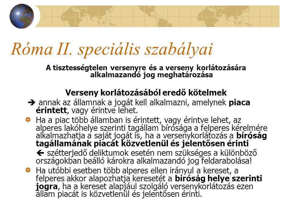 Róma II. speciális szabályai A tisztességtelen versenyre és a verseny korlátozására alkalmazandó jog meghatározása Verseny korlátozásából eredő kötelm