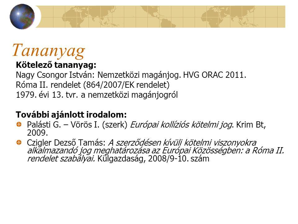 Tananyag Kötelező tananyag: Nagy Csongor István: Nemzetközi magánjog. HVG ORAC 2011. Róma II. rendelet (864/2007/EK rendelet) 1979. évi 13. tvr. a nem