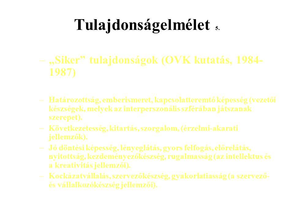 """Tulajdonságelmélet 5. –""""Siker"""" tulajdonságok (OVK kutatás, 1984- 1987) –Határozottság, emberismeret, kapcsolatteremtő képesség (vezetői készségek, mel"""