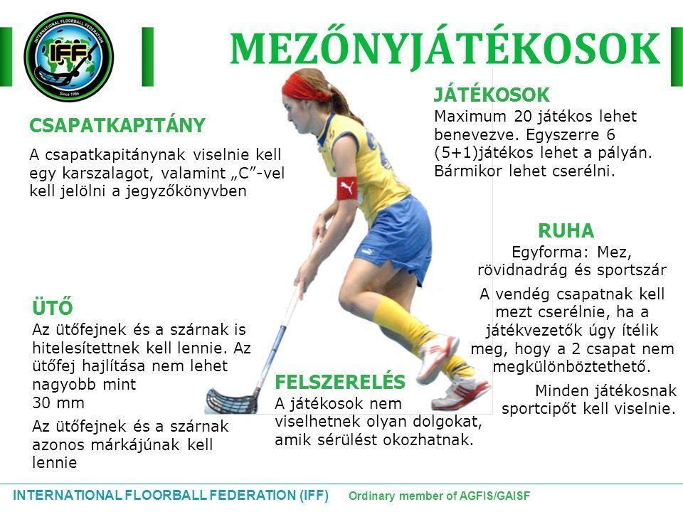 """INTERNATIONAL FLOORBALL FEDERATION (IFF) Ordinary member of AGFIS/GAISF CSAPATKAPITÁNY A csapatkapitánynak viselnie kell egy karszalagot, valamint """"C"""""""