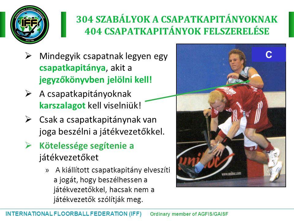 INTERNATIONAL FLOORBALL FEDERATION (IFF) Ordinary member of AGFIS/GAISF C 304 SZABÁLYOK A CSAPATKAPITÁNYOKNAK 404 CSAPATKAPITÁNYOK FELSZERELÉSE  Mind