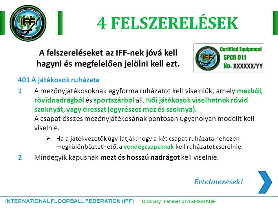 INTERNATIONAL FLOORBALL FEDERATION (IFF) Ordinary member of AGFIS/GAISF Értelmezések.