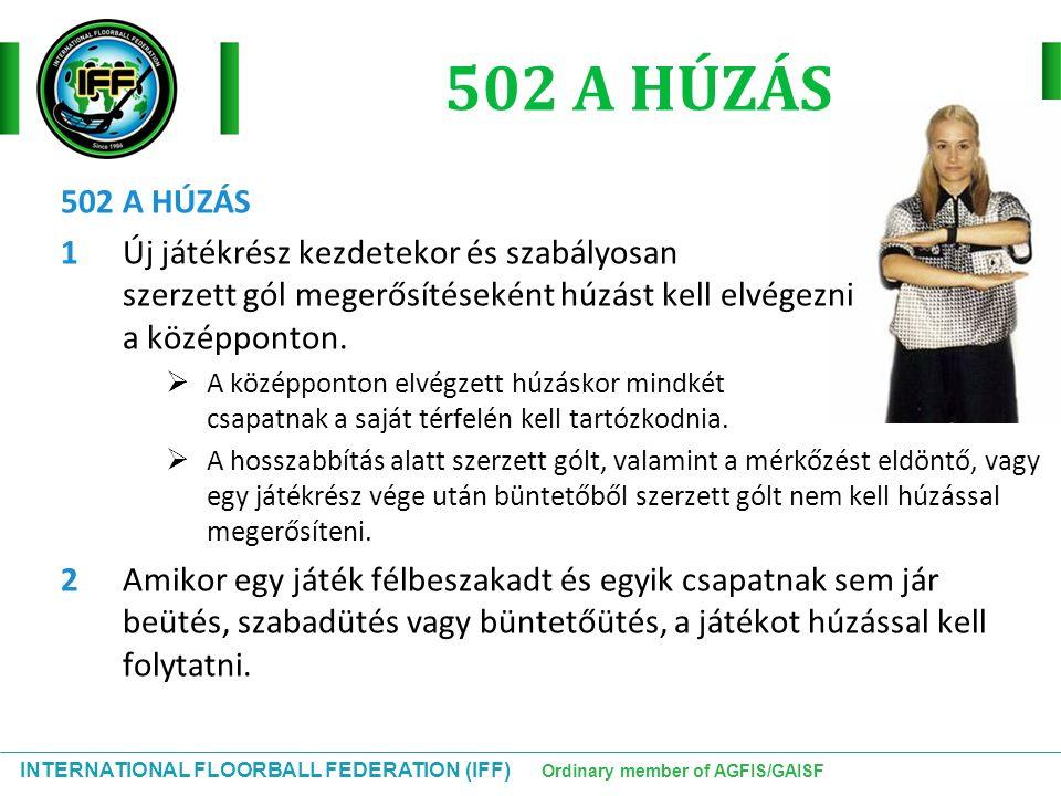 INTERNATIONAL FLOORBALL FEDERATION (IFF) Ordinary member of AGFIS/GAISF 502 A HÚZÁS 1Új játékrész kezdetekor és szabályosan szerzett gól megerősítések