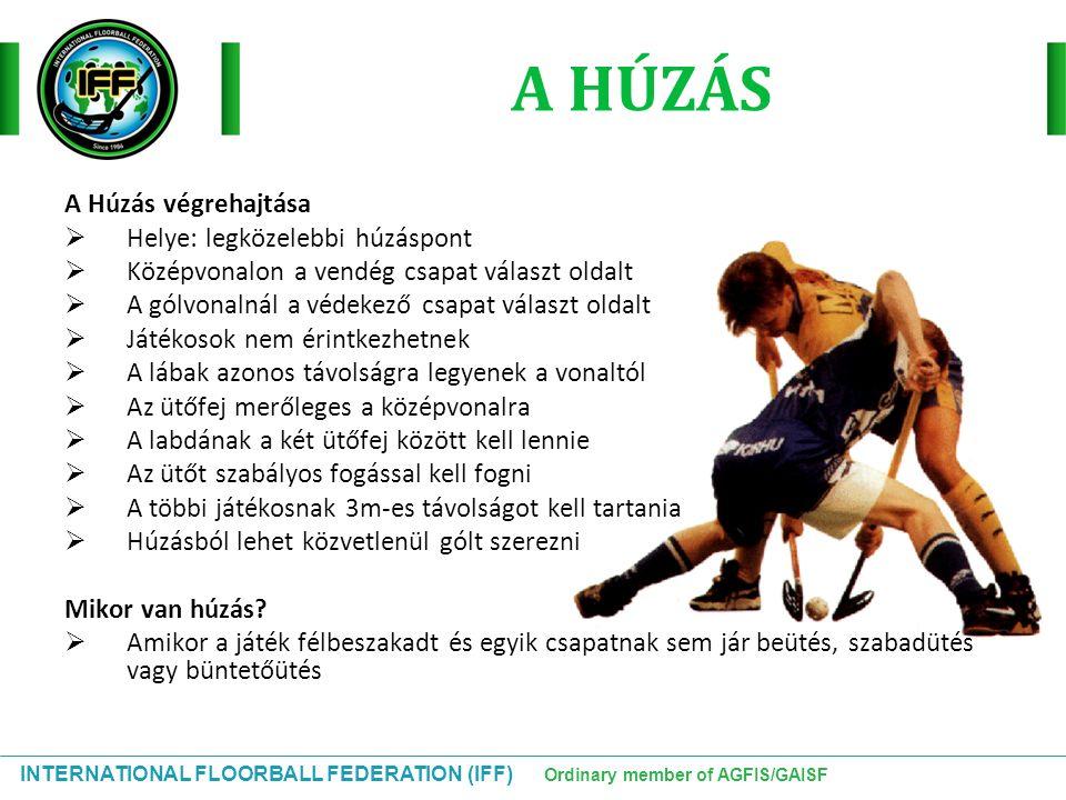 INTERNATIONAL FLOORBALL FEDERATION (IFF) Ordinary member of AGFIS/GAISF A HÚZÁS A Húzás végrehajtása  Helye: legközelebbi húzáspont  Középvonalon a