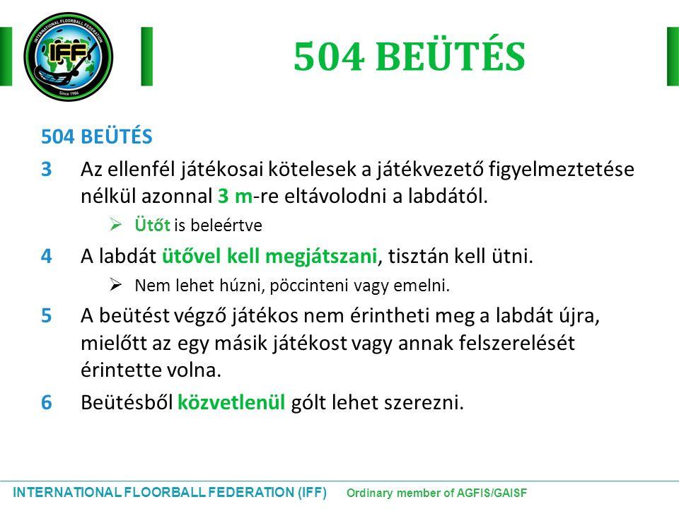 INTERNATIONAL FLOORBALL FEDERATION (IFF) Ordinary member of AGFIS/GAISF 504 BEÜTÉS 3Az ellenfél játékosai kötelesek a játékvezető figyelmeztetése nélk