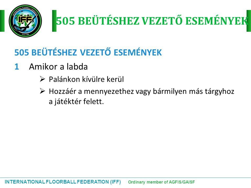 INTERNATIONAL FLOORBALL FEDERATION (IFF) Ordinary member of AGFIS/GAISF 505 BEÜTÉSHEZ VEZETŐ ESEMÉNYEK 1Amikor a labda  Palánkon kívülre kerül  Hozz