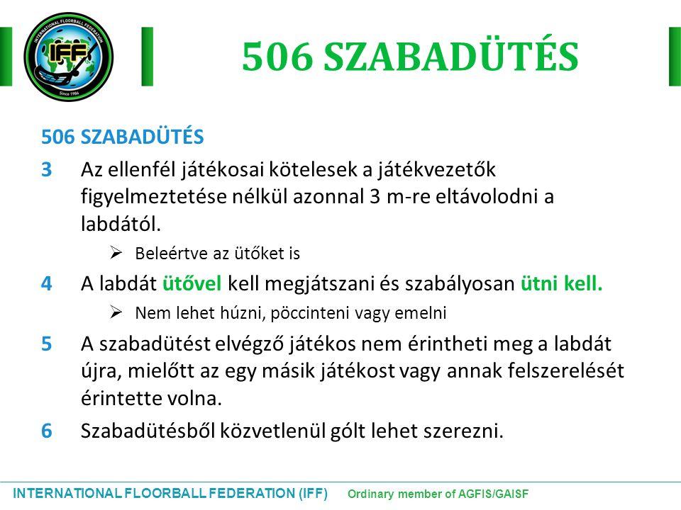 INTERNATIONAL FLOORBALL FEDERATION (IFF) Ordinary member of AGFIS/GAISF 506 SZABADÜTÉS 3Az ellenfél játékosai kötelesek a játékvezetők figyelmeztetése