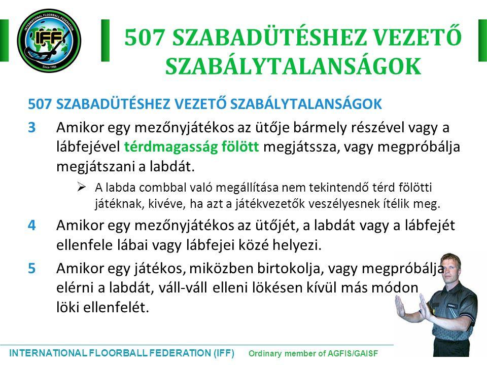 INTERNATIONAL FLOORBALL FEDERATION (IFF) Ordinary member of AGFIS/GAISF 507 SZABADÜTÉSHEZ VEZETŐ SZABÁLYTALANSÁGOK 3Amikor egy mezőnyjátékos az ütője