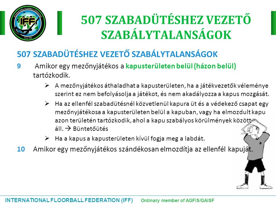 INTERNATIONAL FLOORBALL FEDERATION (IFF) Ordinary member of AGFIS/GAISF 507 SZABADÜTÉSHEZ VEZETŐ SZABÁLYTALANSÁGOK 9 Amikor egy mezőnyjátékos a kapusterületen belül (házon belül) tartózkodik.
