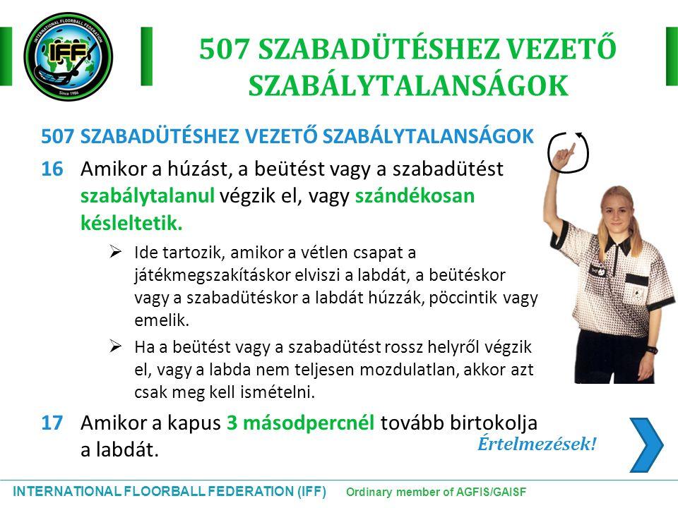INTERNATIONAL FLOORBALL FEDERATION (IFF) Ordinary member of AGFIS/GAISF 507 SZABADÜTÉSHEZ VEZETŐ SZABÁLYTALANSÁGOK 16Amikor a húzást, a beütést vagy a
