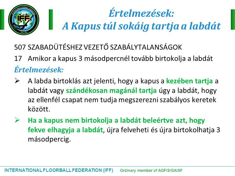 INTERNATIONAL FLOORBALL FEDERATION (IFF) Ordinary member of AGFIS/GAISF Értelmezések: A Kapus túl sokáig tartja a labdát 507 SZABADÜTÉSHEZ VEZETŐ SZAB