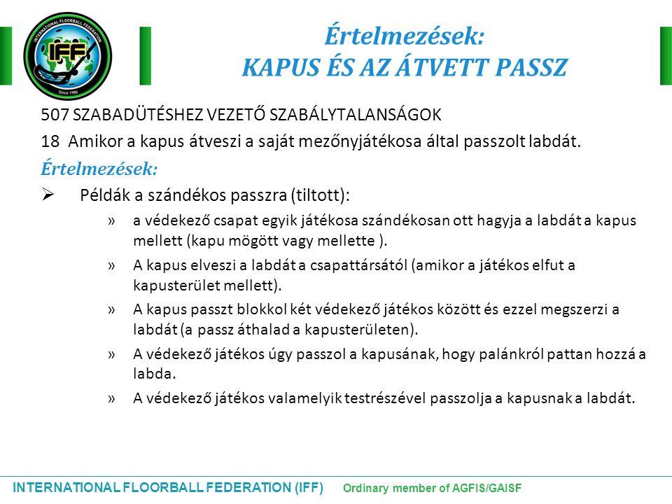 INTERNATIONAL FLOORBALL FEDERATION (IFF) Ordinary member of AGFIS/GAISF Értelmezések: KAPUS ÉS AZ ÁTVETT PASSZ 507 SZABADÜTÉSHEZ VEZETŐ SZABÁLYTALANSÁ