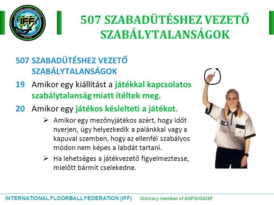 INTERNATIONAL FLOORBALL FEDERATION (IFF) Ordinary member of AGFIS/GAISF 507 SZABADÜTÉSHEZ VEZETŐ SZABÁLYTALANSÁGOK 19Amikor egy kiállítást a játékkal