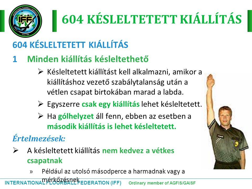INTERNATIONAL FLOORBALL FEDERATION (IFF) Ordinary member of AGFIS/GAISF 604 KÉSLELTETETT KIÁLLÍTÁS 1Minden kiállítás késleltethető  Késleltetett kiál