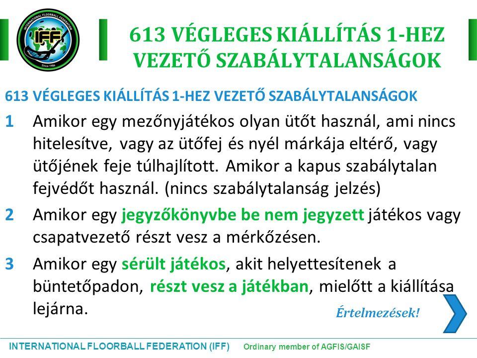 INTERNATIONAL FLOORBALL FEDERATION (IFF) Ordinary member of AGFIS/GAISF 613 VÉGLEGES KIÁLLÍTÁS 1-HEZ VEZETŐ SZABÁLYTALANSÁGOK 1Amikor egy mezőnyjátéko
