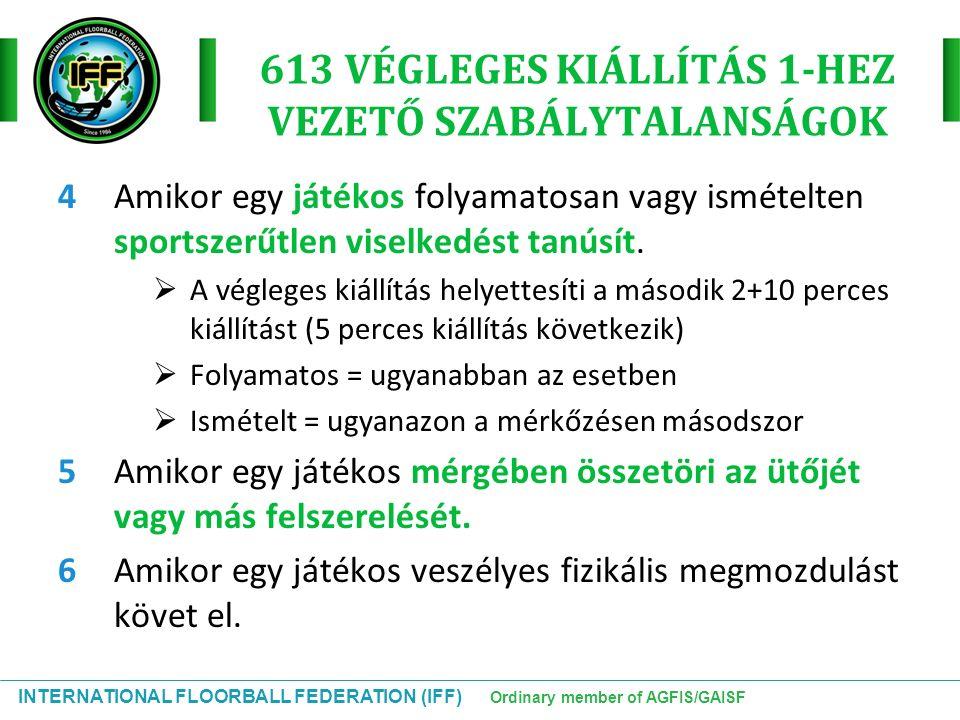 INTERNATIONAL FLOORBALL FEDERATION (IFF) Ordinary member of AGFIS/GAISF 613 VÉGLEGES KIÁLLÍTÁS 1-HEZ VEZETŐ SZABÁLYTALANSÁGOK 4 Amikor egy játékos fol