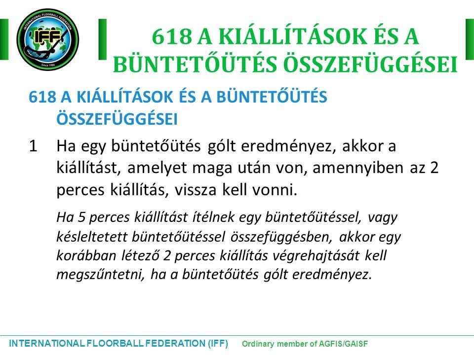 INTERNATIONAL FLOORBALL FEDERATION (IFF) Ordinary member of AGFIS/GAISF 618 A KIÁLLÍTÁSOK ÉS A BÜNTETŐÜTÉS ÖSSZEFÜGGÉSEI 1Ha egy büntetőütés gólt ered