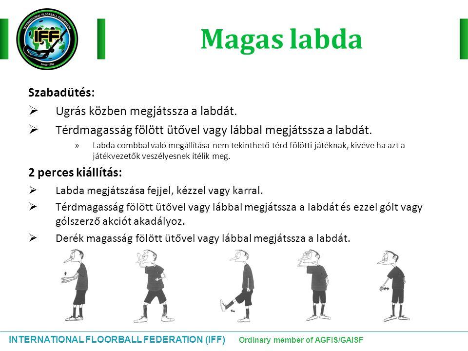 INTERNATIONAL FLOORBALL FEDERATION (IFF) Ordinary member of AGFIS/GAISF Magas labda Szabadütés:  Ugrás közben megjátssza a labdát.  Térdmagasság föl