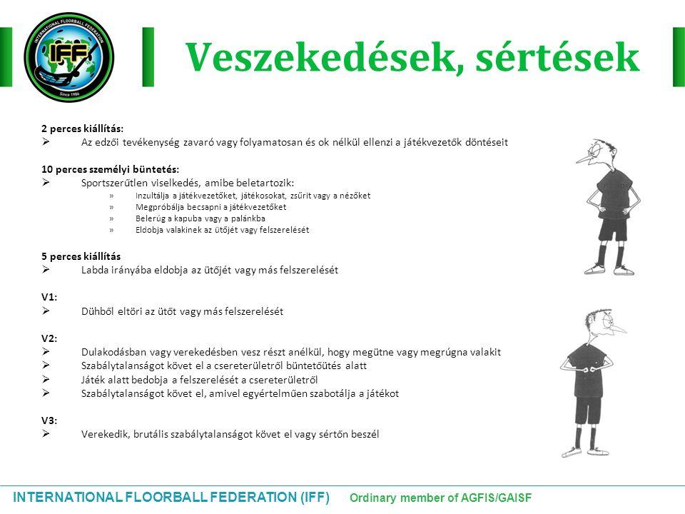 INTERNATIONAL FLOORBALL FEDERATION (IFF) Ordinary member of AGFIS/GAISF Veszekedések, sértések 2 perces kiállítás:  Az edzői tevékenység zavaró vagy