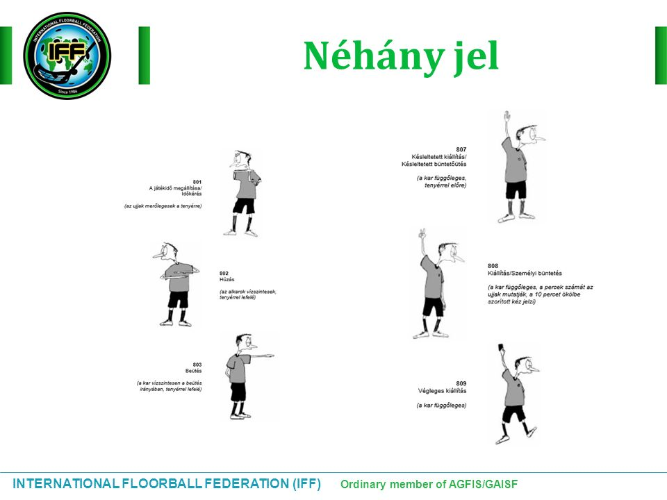 INTERNATIONAL FLOORBALL FEDERATION (IFF) Ordinary member of AGFIS/GAISF Néhány jel