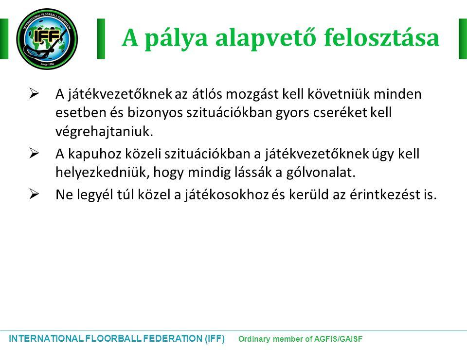 INTERNATIONAL FLOORBALL FEDERATION (IFF) Ordinary member of AGFIS/GAISF A pálya alapvető felosztása  A játékvezetőknek az átlós mozgást kell követniü