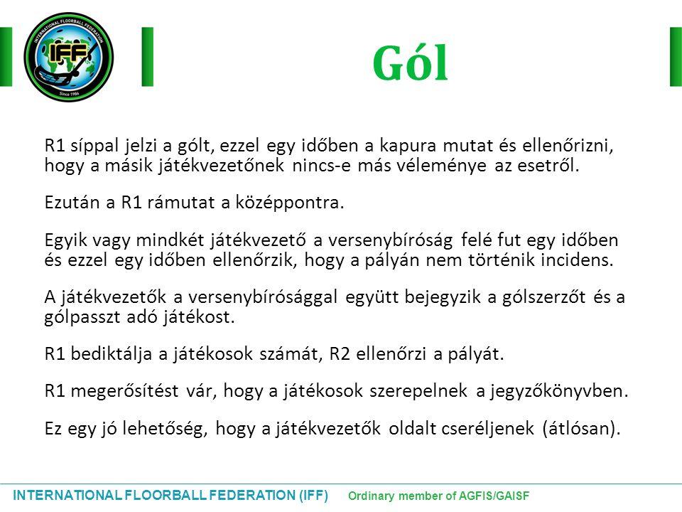 INTERNATIONAL FLOORBALL FEDERATION (IFF) Ordinary member of AGFIS/GAISF R1 síppal jelzi a gólt, ezzel egy időben a kapura mutat és ellenőrizni, hogy a